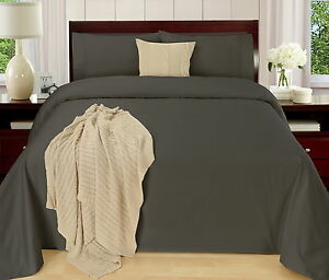 Easy-Care-250TC-CVC-Cotton-Plain-Dyed-Sheet-Set-Fitted-Flat-All-Sizes-7-Colours