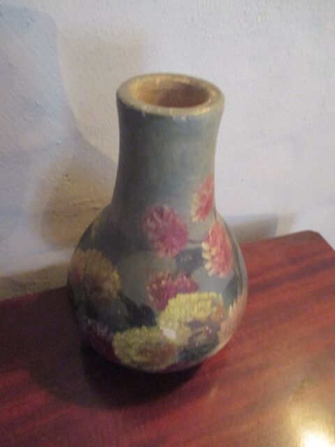 Vintage Small Hand Painted Floral Themed Green Ceramic Flower Vase