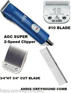 ANDIS-AGC-SUPER-2-Speed-Clipper-Kit-w-UltraEdge-3-4HT-amp-10-Blade-Greyhound-Comb