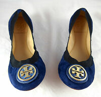 Tory Burch Caroline Ballet Clare Blue Suede Flats shoes 5-11