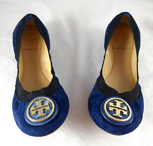 ed3434bff37 Image is loading Tory-Burch-Caroline-Ballet-Clare-Blue-Suede-Flats-