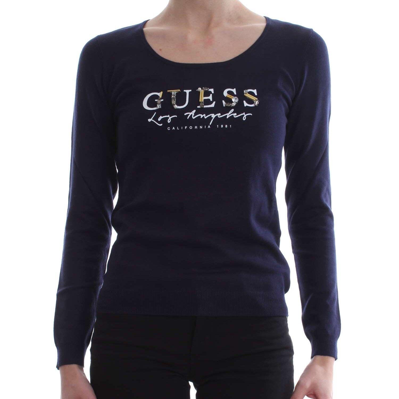 Pull fin Guess Logo strassé W81R34 DPID blu