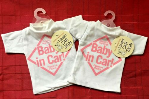 2 Baby on Board Car Sign Pink T-shirt Style Baby Girl with Suction Hook