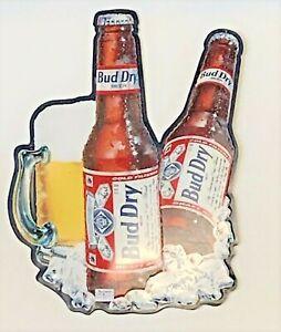 1990-BUDWEISER-BUD-DRY-BEER-TIN-METAL-SIGN
