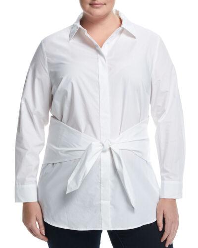 Lea /& Viola WOMEN/'S Front-Tie Poplin Shirt WHITE MSRP$148.00