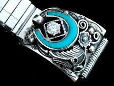 Vintage Sterling Silver Turquoise and Rhinestone watch band Old Pawn Indian