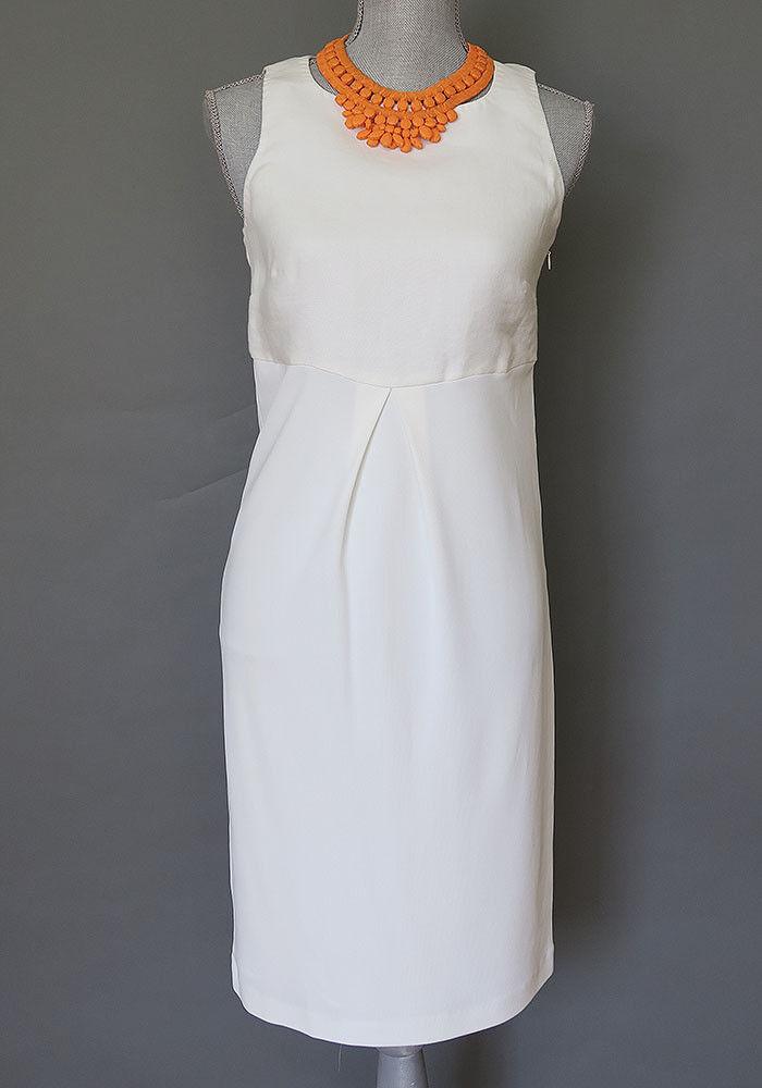 Max Mara White Midi Bodycon Linen Blend Dress Size 6, 12, 14 ,MSRP