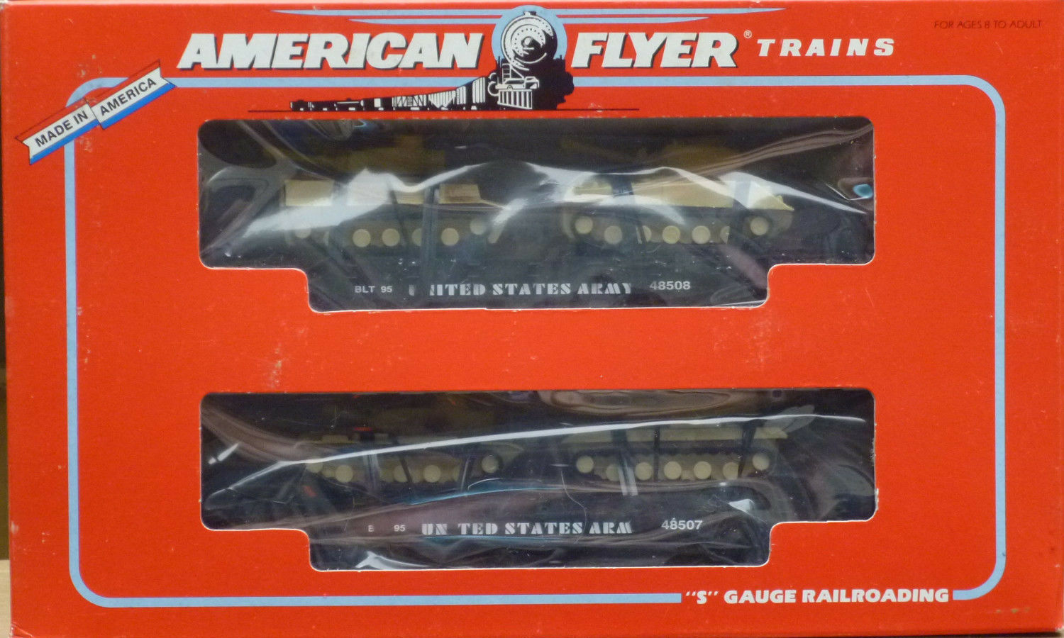 American Flyer  6-48507 U.S. Army Flat Cars With Tanks-Nuovo In Original Box