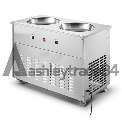 Double Pan Fried Ice Cream machine Stir Yogurt machine Fry Ice Roll Maker 220V