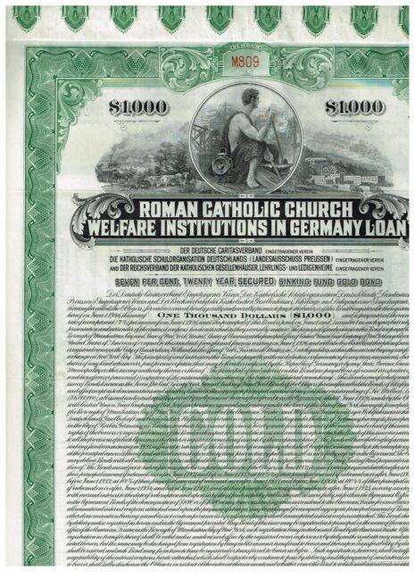 Roman Catholic Church...in Germany, 1926, Gold-bond $1000