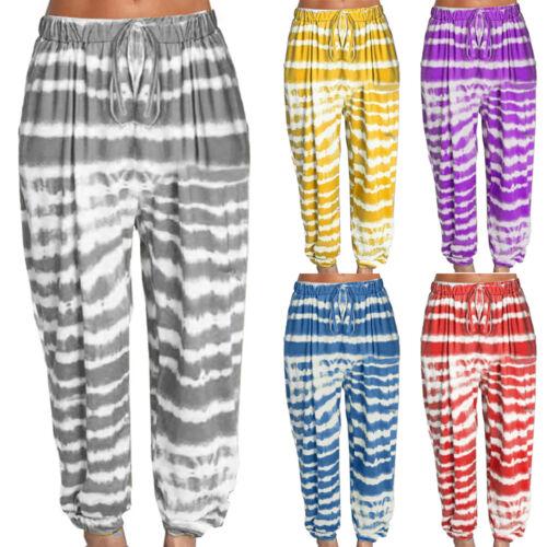 Women Boho Floral Yoga Harem Palazzo Pants Wide Leg Casual Beach Baggy Trousers