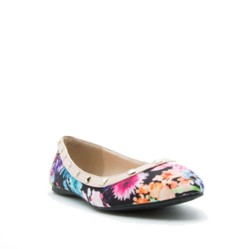 Floral Pointed Closed Toe Spiked Studded Slip On Block Heel Summer Flats Shoes