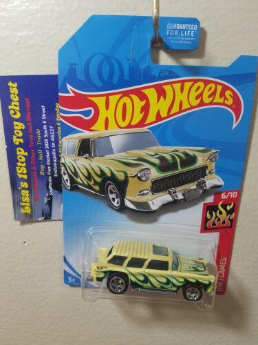 HW FLAMES Classic /'55 Nomad Yellow 6//10  B3 Hot Wheels 2018 Kmart  Exci