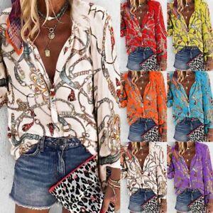 Womens-Chain-Print-Long-Sleeve-Button-Down-Ladies-OL-Shirt-Casual-Blouse-Tops-US