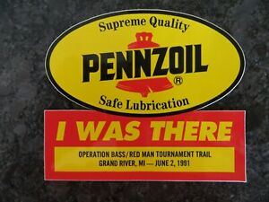 5 x 4 1//2 inch MI RARE 1987 Pennzoil Redman Bass Tour Sticker Lake St Clair