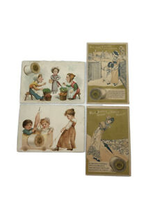 Lot-Of-4-J-amp-P-Coats-Thread-Advertising-Victorian-Trade-Cards-Used-AS-IS