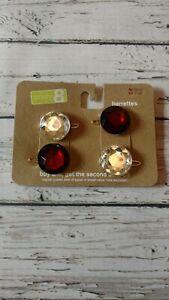 NWT-Crazy-8-Red-amp-Clear-Gem-Stone-Barrette-Set-Vintage-VTG-2011-Holiday-Winter