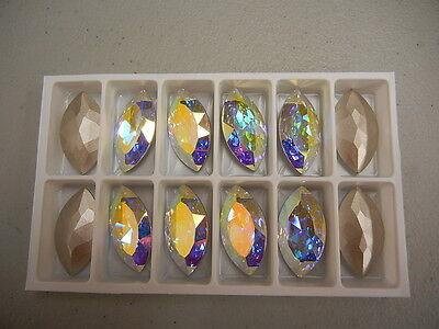 2 swarovski navette brooch stones,32x17mm crystal AB/foiled #4227