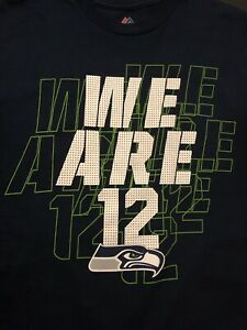 """03826d5a753 Majestic NFL Seattle Seahawks Football""""We Are 12""""T-Shirt Men Size ..."""