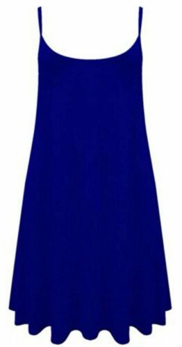 Womens LONG CAMI plain strappy swing vest top flared sleeveless ladies dress