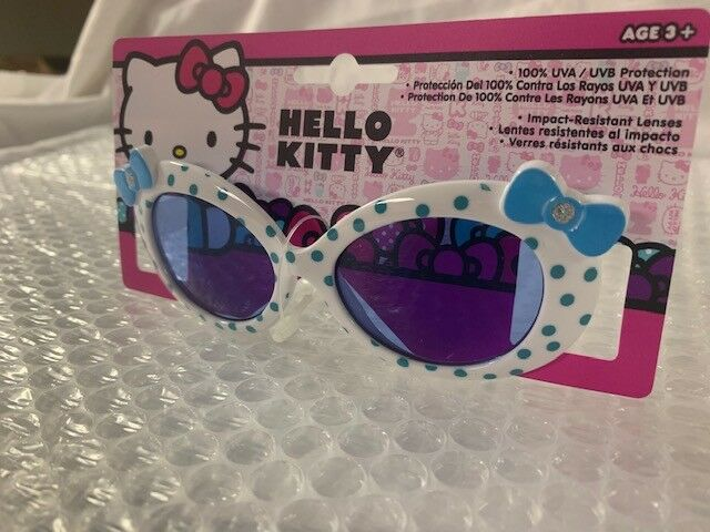 c316e8323 Girls Kids Hello Kitty White With Blue and Bow Sunglasses 100 Uva/uvb 01  for sale online | eBay
