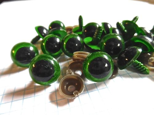 Green Plastic Safety Craft  Eyes  x 20 Choice of size 12mm or 18mm  Bears