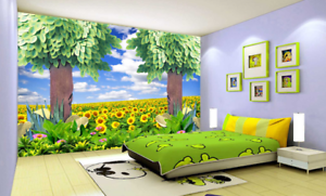 3D Sunflowers 52 Wallpaper Murals Wall Print Wallpaper Mural AJ WALL UK Sidney