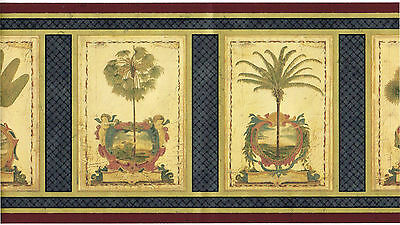 Victorian Palm Trees Cherubs Angel Blue Weave Burgundy Gold Wall paper Border