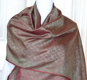 Banaras-Silk-Red-Green-Woven-Floral-Paisley-Design-Shawl-Wrap-Stole