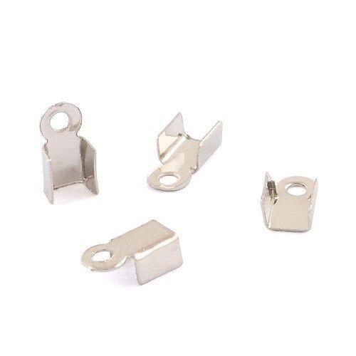 LOT de 150 EMBOUTS à écraser plier 6x3mm ARGENTES foncé perles cordon fil bijoux