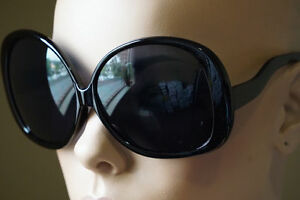 48d66c0d2b082 Retro Jackie O Oversized Huge Black Round Oval Butterfly Glossy ...