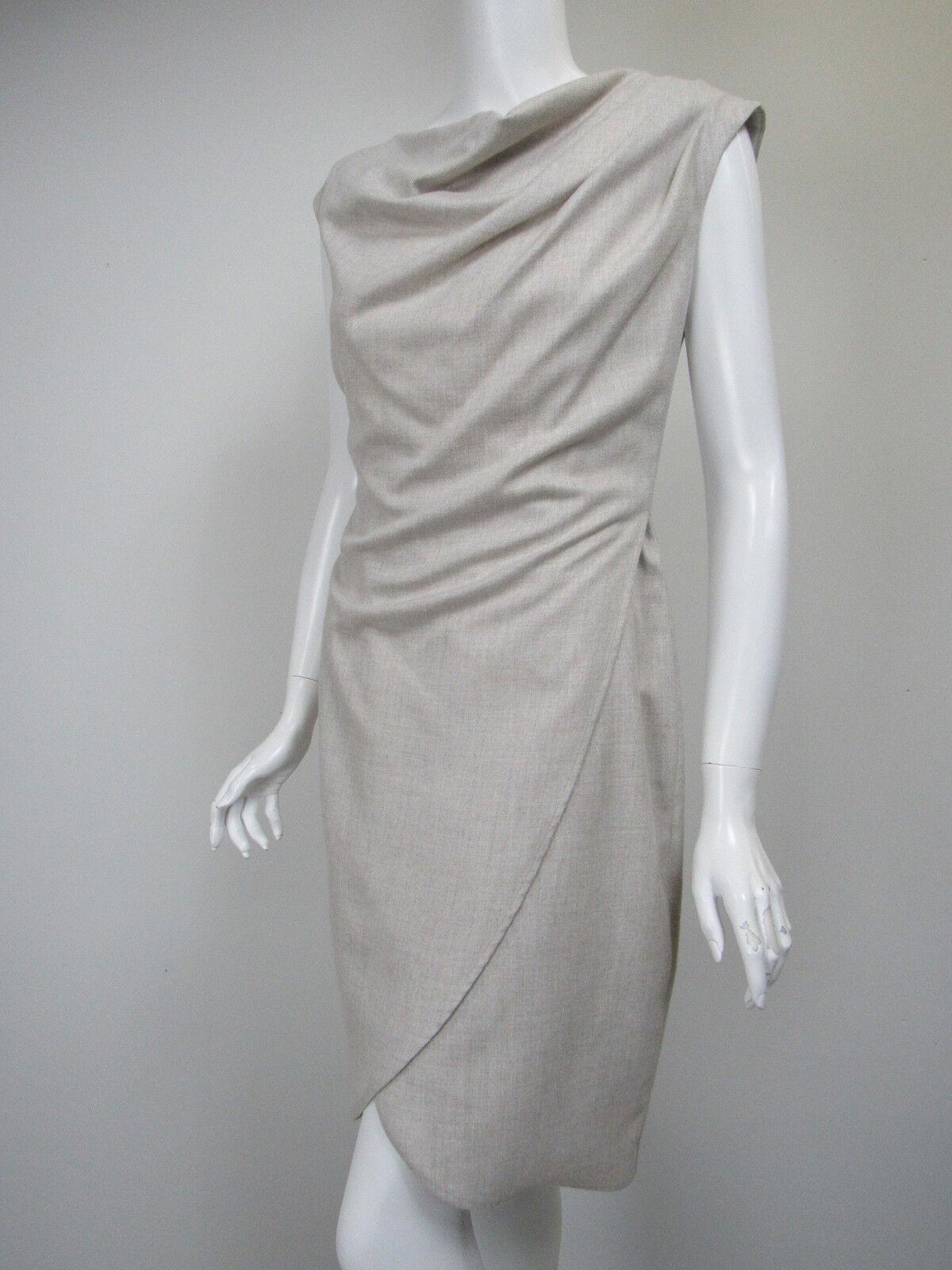 IRIS SETLAKWE Light Beige Draped Cowl Neck Cutaway Skirt Sheath Dress sz 4