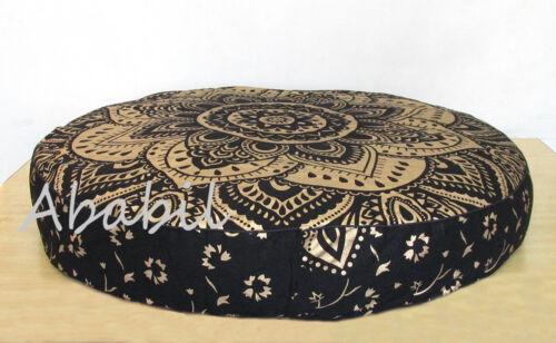 "Indian 35X6/"" Round Black Gold Mandala Floor Pillow Room Decorative Cushion Cover"