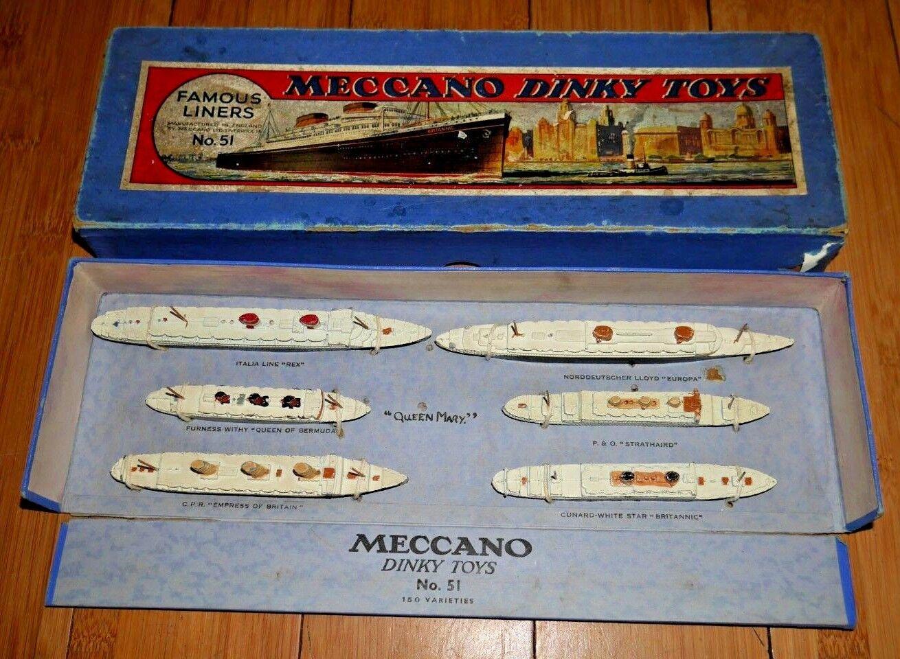 Schäbiges spielzeug 51 berühmten ozeanriesen box vor dem krieg 1934-1940 boxed - m - b878