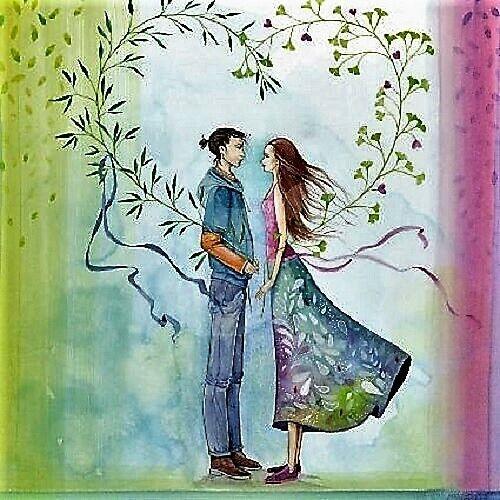 Kristiana Heinemann Post Card Friendship Love Heart Glitter 14x14cm Love Pair
