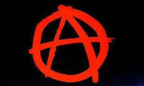 2 Eyelets Red Anarchy 5ft x 3ft Flag Anarchists Punk Festival Banner