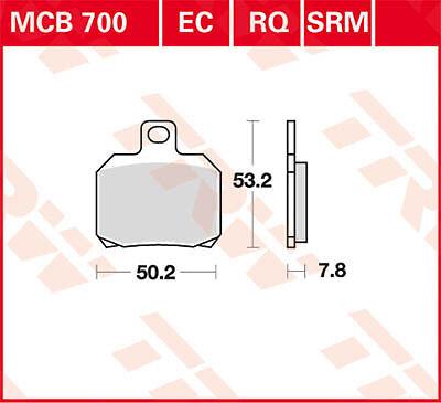 Plaquettes de frein Arrière TRW Lucas MCB700EC Yamaha YP 125 Majesty SE06 01-09