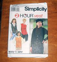 Simplicity Pattern 9205 Misses Set Of Vests Size P 12,14,16 - Uncut