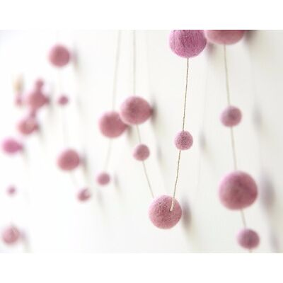 LIGHT PINK garland. Felt balls garland. Baby Nursery.Kids Pom Pom Wall Decor.