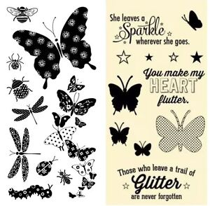 2-Sets-Clear-Stamps-Butterflies-Dragonflies-Butterfly-Beetle-Spider