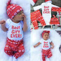 Christmas Newborn Baby Boy Girls Gift Romper Pants Hat 3pcs Outfits Set Clothes