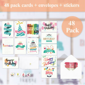 Pack-of-48-General-Birthday-Cards-Male-or-Female-Boy-or-Girl-Man-or-Woman-AU