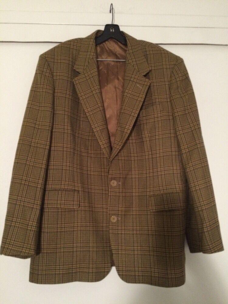 Christian Dior Monsieur Tan Wool Hounstooth Blazer EUC