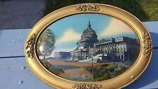 Antique Vintage Washington DC Capital Building Reverse Painting Bubble Glass