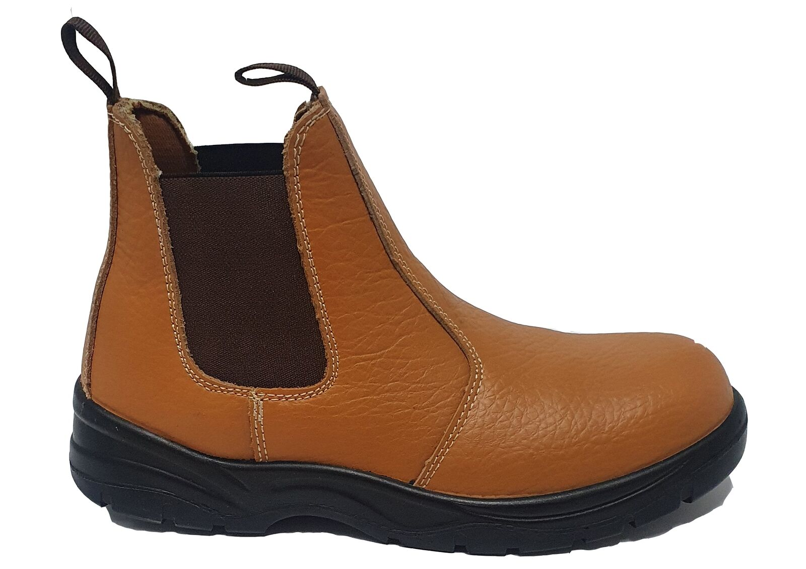 Mens Grafters Steel Toe Pull On Gusset Tan Leather Chelsea Boots