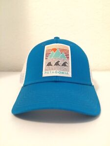 VERY RARE NEW Patagonia Deep Ones Lopro Mesh Hat Grecian Blue ... 09ff7c3bb089