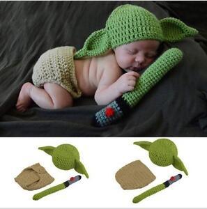 Image is loading Yoda-Newborn-Baby-Crochet-Knit-Costume-Photo-Photography- 20ef1c47ee51