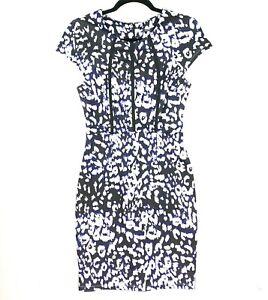 Tokito Women's Size 10 Blue Black White Sheath Bodycon Work Corporate Dress