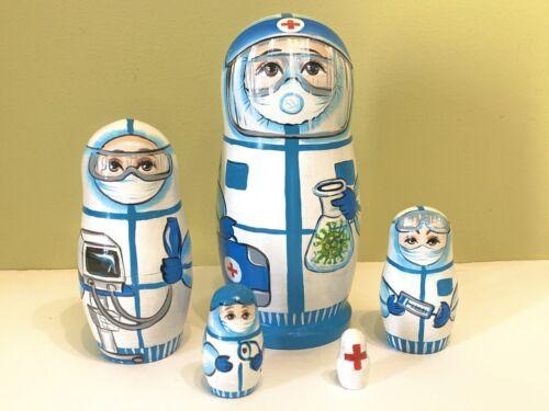 "Matryoshka Babushka New Doctor and Nurses Nesting Doll 5 pcs 10 cm//4/"""