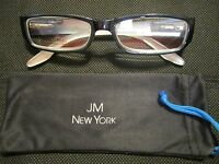 Jm York Reading Glasses +3.00 Navy Blue/white Spring Hinged Joy Mangano